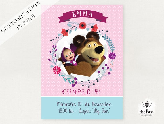 Masha Y El Oso Invitación Tarjeta Personalizada Masha And The Bear Card Customized In 24hs