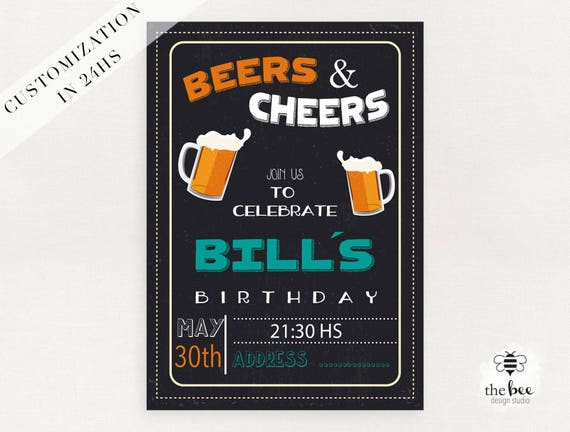 Urodziny Dorosłych Zaproszenie Piwa I Okrzyki Dostosowane W Etsy