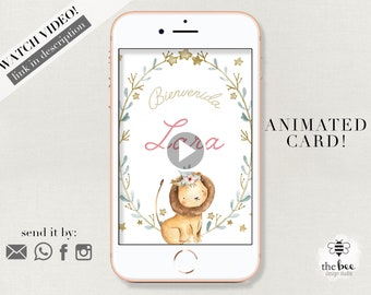 Jungle Animals Baby Announcement Animated. Newborn welcome card.