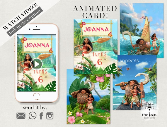 Moana Birthday Animated Video Invitation Invitacion Animada Moana