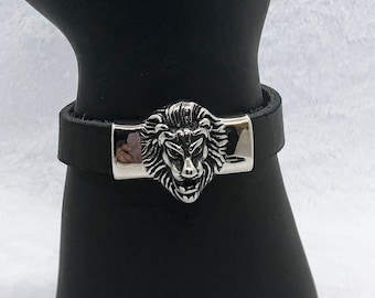 Black Leather Lion Bracelet