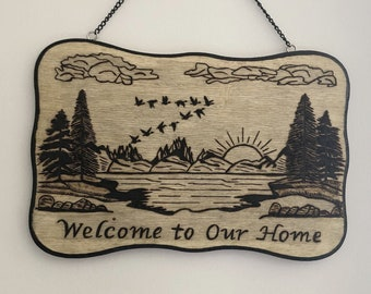 Wood Burned Welcome to Our Home Sign
