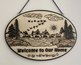 Wood Burned Welcome to our Home Sign 3