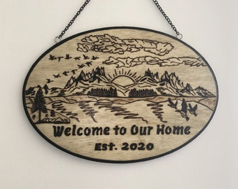 Wood Burned Welcome to Our Home Sign 2
