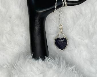Sterling Silver Blue Heart Pendant