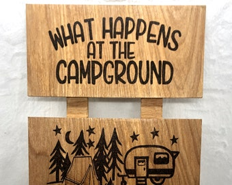 Wood Burned Campground Sign
