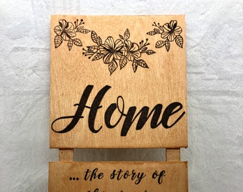 Wood Burned Home Sign