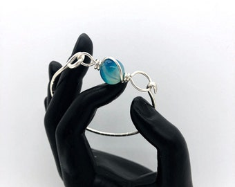 Argentium Silver Bangle - Blue