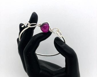 Argentium Silver Bangle - Purple