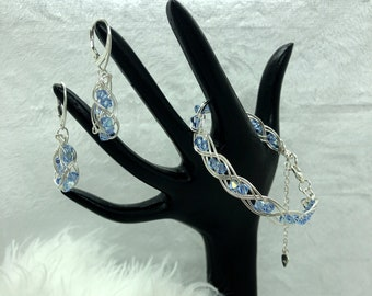 Sterling Silver Bracelet and Earring Set