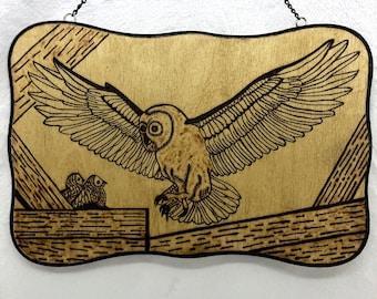 Wood Burned Owl Sign