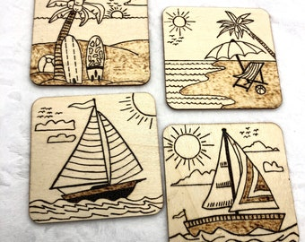 Wood Burned By the Sea Coaster Set