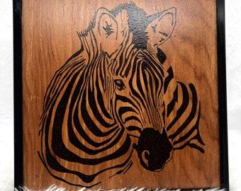 Wood Burned Zebra Art