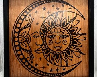 Wood Burned Crescent Moon Sign