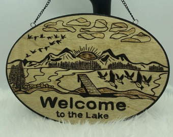 Wood Burned Welcome to the Lake Sign
