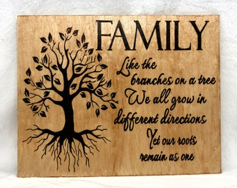 Wood Burned Family Roots Sign