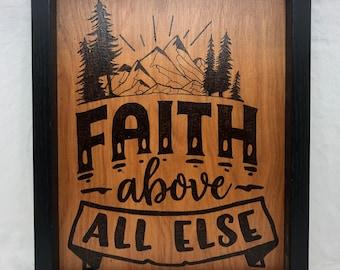 Wood Burned Faith Sign