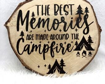 Wood Burned Campfire Memories Wood Cookie