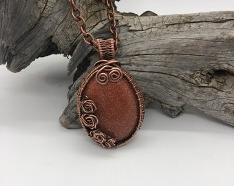 Copper Goldstone Pendant