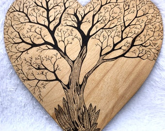 Wood Burned Tree of Life - Customizable - Large