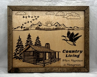 Wood Burned Country Living Sign