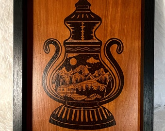 Wood Burned Mountain in a Lantern