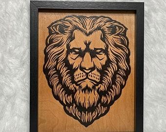 Wood Burned Lion Art