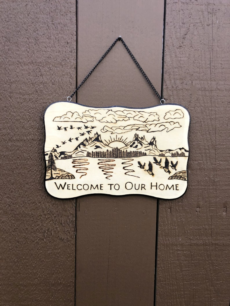 Wood Burned Welcome to Our Home Sign 4
