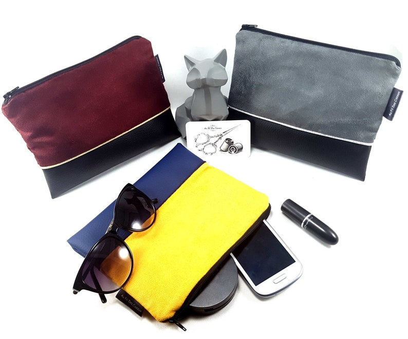Flat suedette and faux leather pouch//makeup pouch//handbag image 0