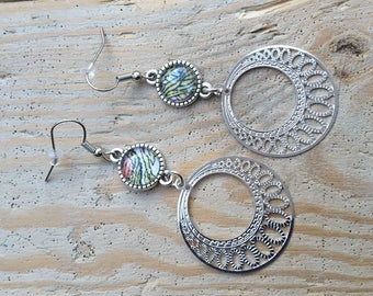 Bohemian earrings with liberty Hera green and pink