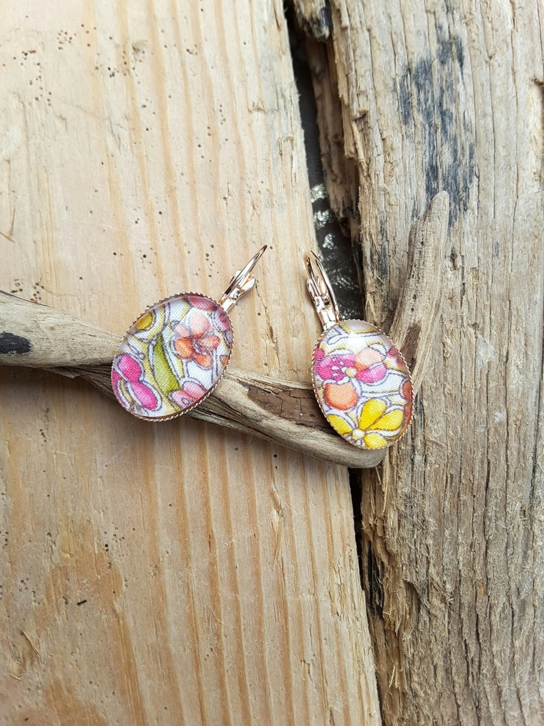 adjustable ring Liberty Collection jennie and yellow pink and yellow gold ring in liberty fabric flower jewel