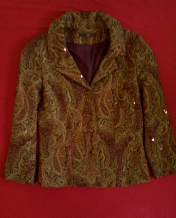Veste Vintage en Jacquard pailleté bordeaux Taille