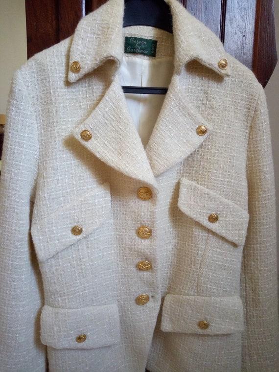 Veste vintage en tweed ivoire taille 38 FR