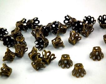 ♥ 50 PCs caps filigree antique bronze 6mm ♥