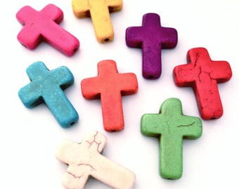 X 8 30x22mm dyed Howlite cross