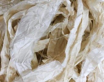 X 1 meter cream sari silk