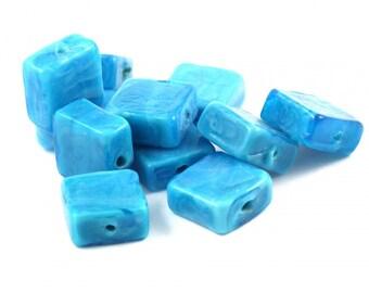 ♥X2 12mm♥ blue square glass bead