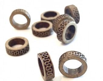 ❤ X 15 beads rondelle antique bronze 10mm ❤