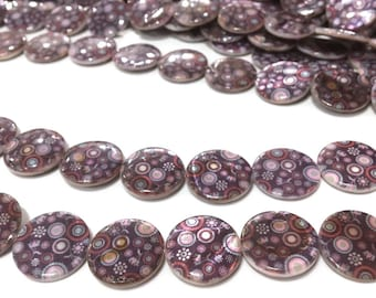 X 5 beads of Pearl 18mm round flat ❤ ❤