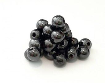X 50 magnetic hematite beads 6mm stone