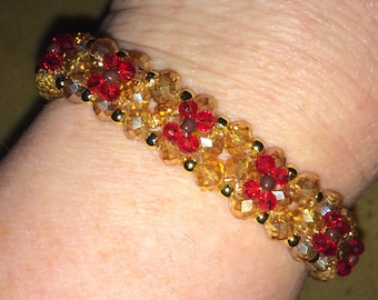 Red and Gold Layered Flower Bracelet