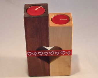 Mother's father, candle holders wood scented candles, colors, shape heart, home decoration, gift, Ribbon.