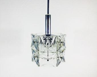 KINKELDEY Large Hanging Lamp - Chrome Body - Square Crystal Glasses - Germany 1960s