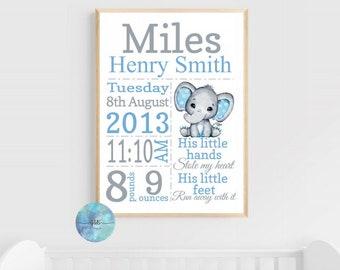 Personalised Birth Stats, Birth announcement, Nursery print, Christening gift, wall print, baby elephant, keepsake, present, memory keeper