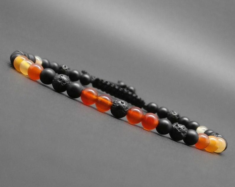 gemstones Fine braided man/'s bracelet lava stone matte black onyx 4 mm R379 natural cornaline