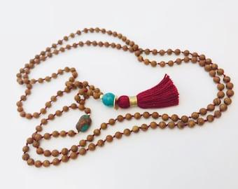 GROUNDED IN HARMONY ~ Knotted Mala Beads, Yoga Jewelry, Boho Jewelry, Mala Beads