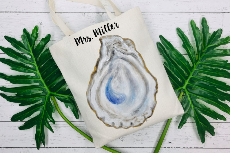 Hand Painted Oyster Shell Tote Bag  Oyster Art  Original Oyster Painting