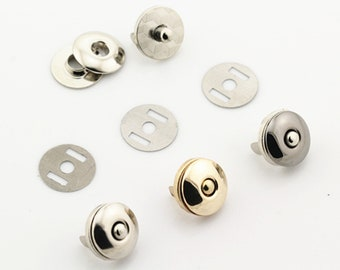 Mini Skater 18mm Magnetic Button Purses Bag Clasp Snap for Handbag Backpack Clothes Leather Sewing DIY Craft Accessories,6 Set Silvery
