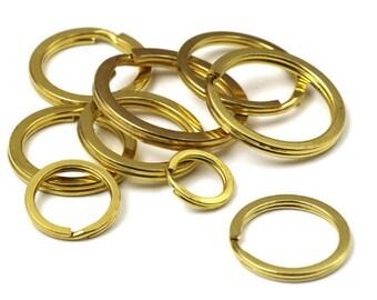 10X LEATHER CRAFT GOLD EFFECT KEY FOB SPLIT RINGS 20MM INNER DIAMETER}