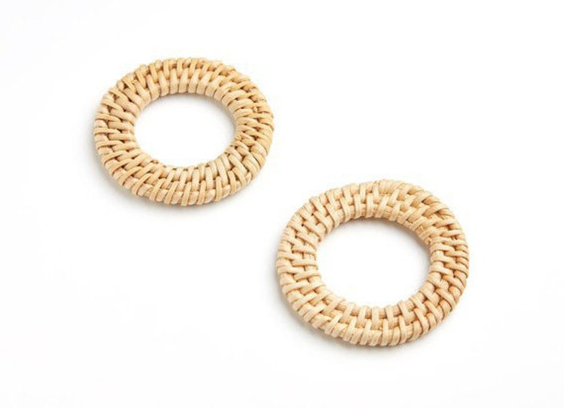 Natural Rattan Bamboo Wood Earring Hoops 52mm 2 Round Wooden Charms Handwoven Circle Findings Woven Boho Jewelry Making Blanks